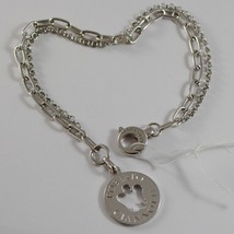 ROBERTO GIANNOTTI 925 SILVER BRACELET ANGEL DISC DOUBLE CHAIN MADE IN ITALY image 1