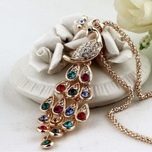 Fine Jewelry Gold Color Rhinestone Colorful Peacock Long Necklace & Pend... - $6.39