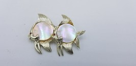 Vintage Silver Tone Double Fish Pin / Brooch W/ Mother Of Pearl Jelly Be... - $54.24