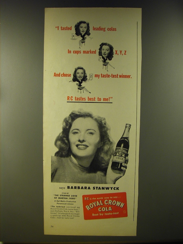 Primary image for 1946 Royal Crown Cola Advertisement - Barbara Stanwyck