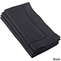 Fennco Styles Hemstitched Dinner Napkin, Set of 4 (black) - $24.74