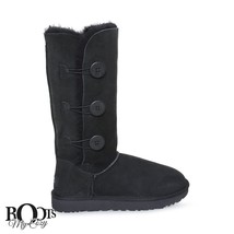 UGG BAILEY BUTTON TRIPLET II BLACK SHEEPSKIN BOOTS SIZE US 7/UK 5.5/EU 3... - $143.05