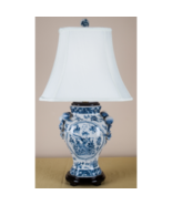 Blue & White Floral & Bird Porcelain Vase w Handles Lamp 16 x 12 x 29  - $265.00