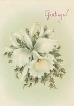 Vintage Christmas Card Orchid and Holly 1950's Gibson Someone Too Nice to Forget - $6.92