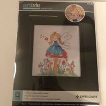 Artiste Counted Cross Stitch Kit Blue Fairy Princess 8x10 Finished Size Zweigart - $12.86