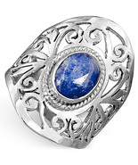 925 Sterling Silver Filigree Ring Lapis Lazuli Gemstone Chunky Womens Si... - $15.87