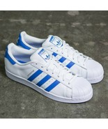 Adidas Originals Superstar Trainers Men's Leather Shoes - White / Blue -... - £72.37 GBP