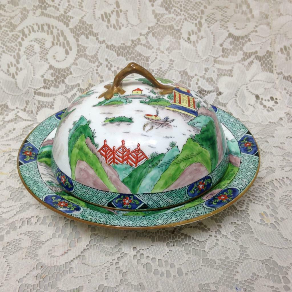 Primary image for Antique Crown Staffordshire Gaudy Blue Willow Pancake - Covered Dish 8.5inx5.5in