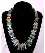 "Artisan Polished Stone Necklace-16""-Green Earth Tone Rock-Metal Clasp/Hook - $46.74"