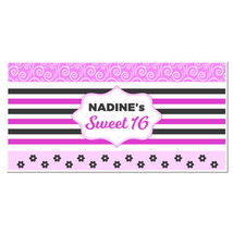 Pink Pattern Swirls Sweet Sixteen 16 Birthday B... - $22.50 - $42.50