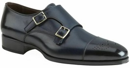 Handmade Men's Black Two Tone Brogues Double Monk Strap Leather Shoes image 3