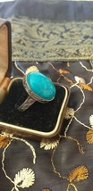 Antique Vintage Victorian Turquoise Sterling Silver Ring -  UK Size P, US 7 3/4 - $117.81