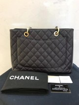 AUTH CHANEL QUILTED CAVIAR GST GRAND SHOPPING TOTE BAG GOLD HW image 2
