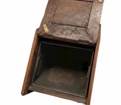 Vintage Antique Oak Wood Box Lid Scuttle Ash Coal Fireplace Liner Hearth Storage image 3