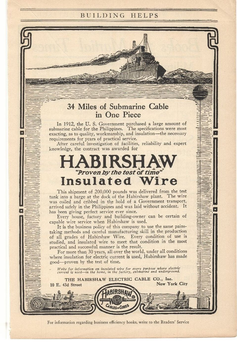 Insulated Wire Advertisement Collectibles Collection Here 1916 Habirshaw Electric Cable Co 1910-19