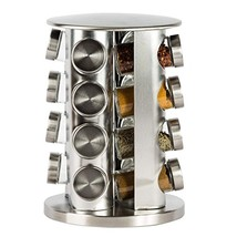 Double2C Revolving Countertop Spice Rack Stainless Steel Seasoning Stora... - $31.90