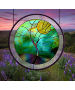 Stained Glass Window Tree Yellow Moon round leaded glass panel - $97.00