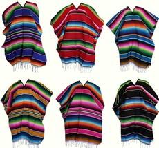 Unisex Adult One Size Multi-Color Mexican Zarape Serape Poncho Folkloric... - $29.92