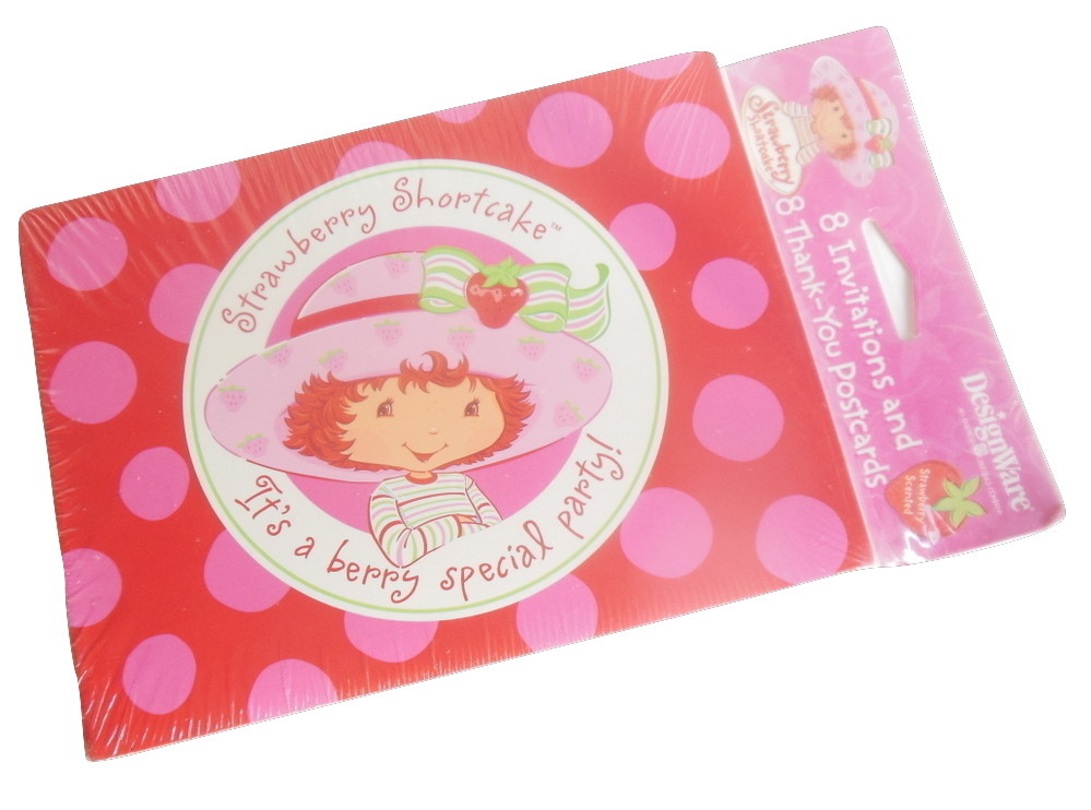 Strawberry Shortcake Party Invitation Cards Thank You Postcards Polka Dot