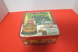 Vintage 1992 Crayola Collectible Tin Bear Ornament With 64 Crayons New Sealed - $12.38