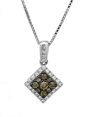 AFJewels 10 K White Gold 0.35 Cttw Brown and White Diamond Pendant