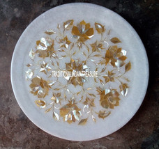 """9"""" White Marble Serving Plate Rare Abalone Stone Marquetry Inlay Art Decor Gifts - $144.12"""