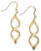 "Charter Club Rose Gold-Tone Twist Drop Earrings Gold 1.75"" - $9.31"