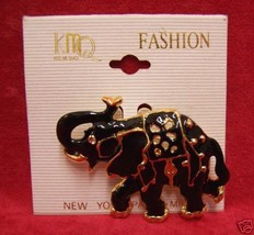 NEW BLACK W/ GOLDTONE METAL EDGING ELEPHANT BROOCH PIN - $14.80