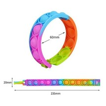 Push Bubble Sensory Toy Fun Color Silicone Bracelet Decompression Anxiety Wrist image 2