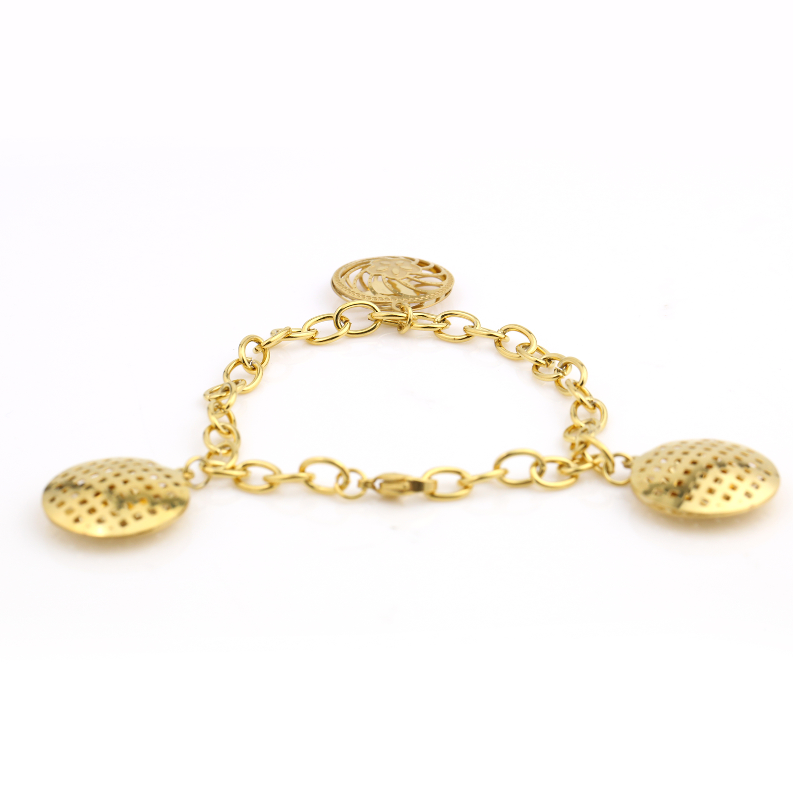 UNITED ELEGANCE Stylish Gold Tone Bracelet With Open Cut Out Designed Charms
