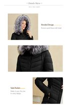 Women's Casual Solid Black full Length Quilted Hooded Parka Coat image 2