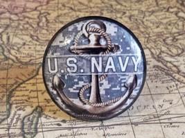 "4 Handmade U.S. Navy Birch Wood Knobs, 1.5"" Military Cabinet Pull Knob H... - $23.76"