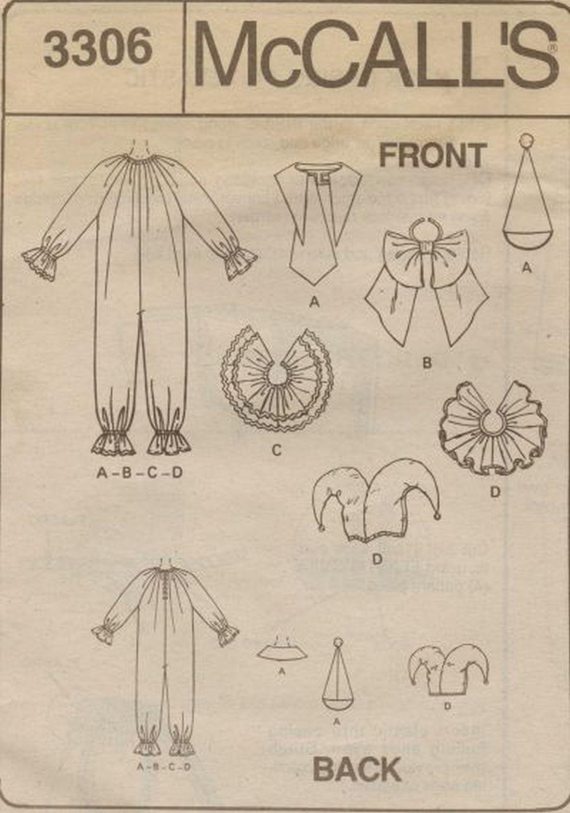 Easy 2 Hour Boys Girls CLOWN JESTER HALLOWEEN COSTUMES Sew Pattern 7-8