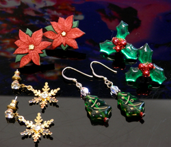 Lot of Christmas Holiday Earrings Holly Berry Poinsettia Snowflakes Trees - $10.00