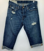 Abercrombie Mens Size 30 Jeans Distressed Cut for Womens DIY Shorts Blue... - $11.29