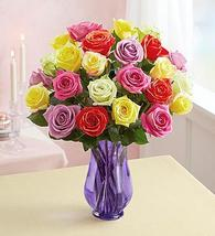 1-800-Flowers Two Dozen Assorted  Roses with Purple Vase - $64.99+