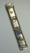 Judaica Mezuzah Case Antique Silver Finish Jerusalem Hoshen Crystals SHIN 12 cm image 1