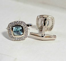 925 Sterling Silver Natural A+ Quality Blue Topaz And Cz Gemstone Artistic Handm image 4