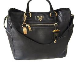 Authentic Prada Black Soft Calfskin Leather Shopping Tote /1740$ - $695.00