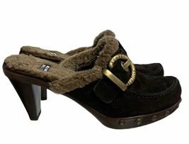Stuart Weitzman Fur Lined Suede Clogs Buckle Shoes Size 6.5 Brown - $27.59
