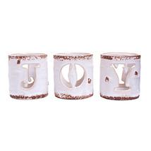 Joy Candleholder: Ceramic, 3.04 X 3.27 Inches, 3 Pieces - $15.99