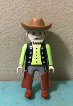 1993 Playmobil Geobra Western Cowboy Figure w/ Beard + Removable Hat Chaps - $8.32