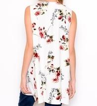 Ivory Floral Vest, Lightweight Layering Vest, Floral Layering Vest, Floral Vest image 4