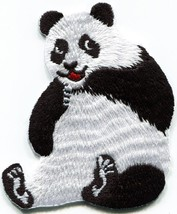 Panda bear embroidered applique iron-on patch S-1490 - $2.95