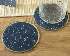 Under the Stars Glass Coasters Navy Gold 12 Sets of 2 Coasters Party Favors - $37.89