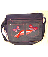 Lei Messenger Bookbag Blue Denim Pink Embroidered Butterfly Shoulder Strap - $14.99