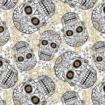 White & Black Sugar Skulls & Blooms With Metallic Accents-David Textiles-BTY - $11.95