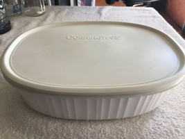 Corning Ware Oval Casserole Dish 2.8 Liter F-2-B White With Plastic Lid F-2-PC - $34.57