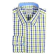Berlioni Italy Boys Kids Toddlers Checkered Plaid Dress Shirt (Green, 4)