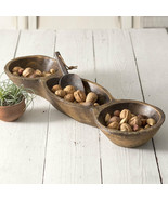 New rustic treen 3 bowl party dish - $58.00